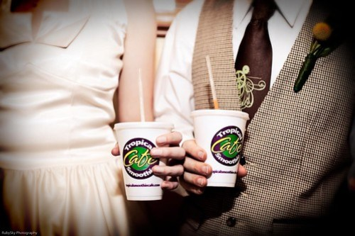 Tropical Smoothie = easy to carry w/ you from table to table