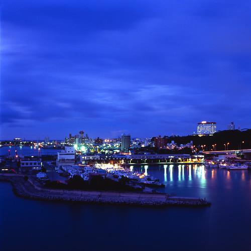 dusk-blue harbor