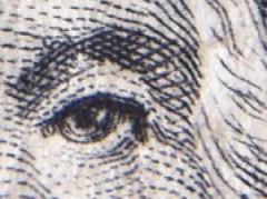 Dollar face loupe macro