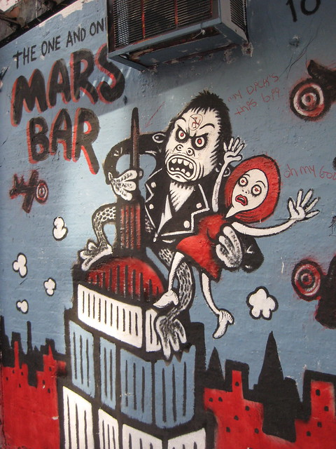 Mars Bar Leather Jacket King Kong Cartoon Graffiti Mural 8345
