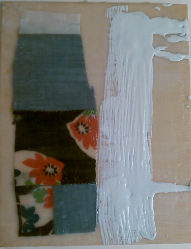 Fabric & encaustic