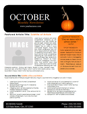 October Newsletter Template Flickr Photo Sharing