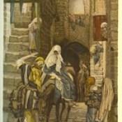 """Phillip Medhurst presents 412/740 James Tissot Bible c 1900 Saint Joseph seeks a lodging in Bethlehem from """"La Vie de Notre Seigneur Jésus Christ"""