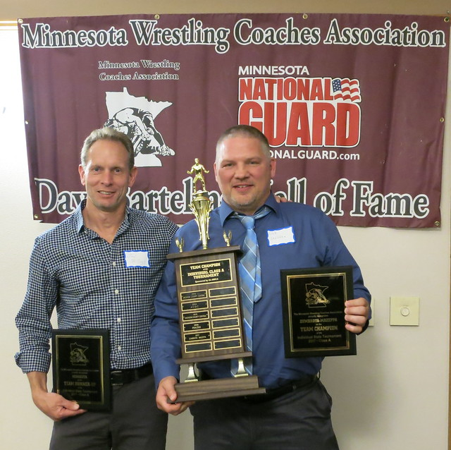Minneota Coach Joel Skillings and Zumbrota-Mazeppa Coach Link Steffen accepted the MWCA Class A Individual State Tournament Team Championand Runner-up Awards.