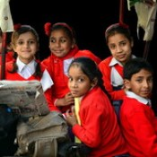 India - Uttar Pradesh - Mathura - Students In Cycle Rickshaw - 4d.