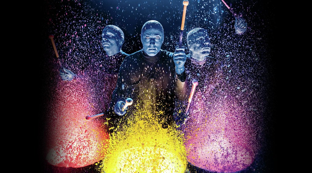 Blue Man Group Paint Splatter Drums Front View