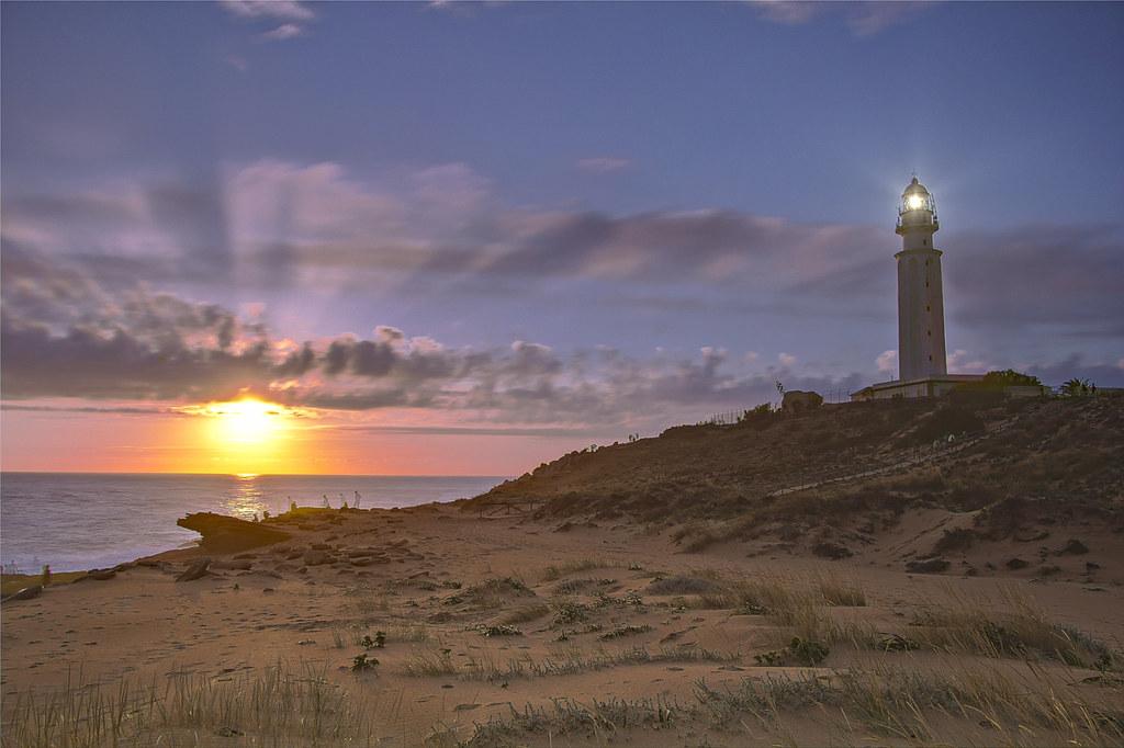 Salida y puesta de sol de Caños de meca, Kap Trafalgar, Cádiz, España