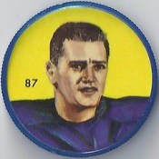 1963 Krun-Chee / Nalley's Potato Chips CFL Plastic Football Coin (light blue cap) - GORD ROWLAND #87-KC (Winnipeg Blue Bombers / Canadian Football League)