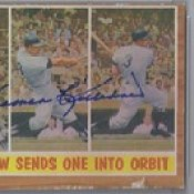 1962 Topps / Harmon Killebrew Sends One Into Orbit #316 (Third Baseman) (Hall of Fame 1984) (b. 29 Jun 1936 - d. 17 May 2011 at age 74) - Autographed Baseball Card (Minnesota Twins)