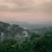 🎶 Sunset lover   Petit Biscuit Après la pluie, candy sky sur la forêt. Evaporación del agua del bosque debajo del cielo rosa 💜 . . . . #landscape #amazing #lovelyplaces #costaricacool #découvrirensemble #sky #mountains #descubrecostaric.
