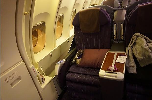 170505 タイ航空ボーイング747ビジネスクラス座席