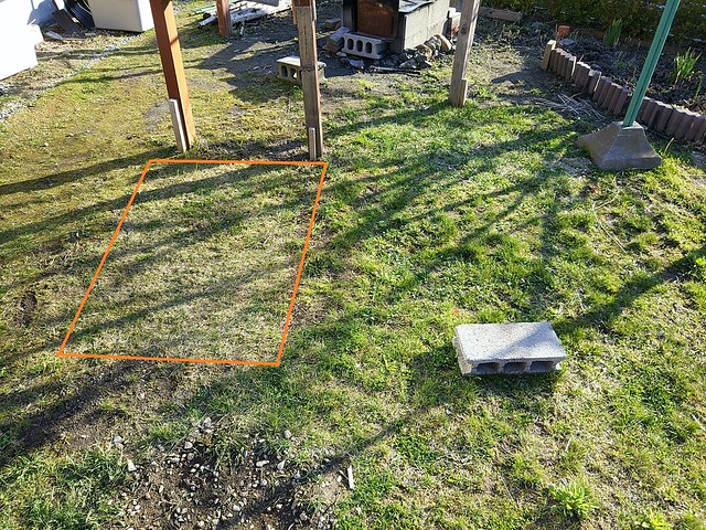 四角いところが芝生