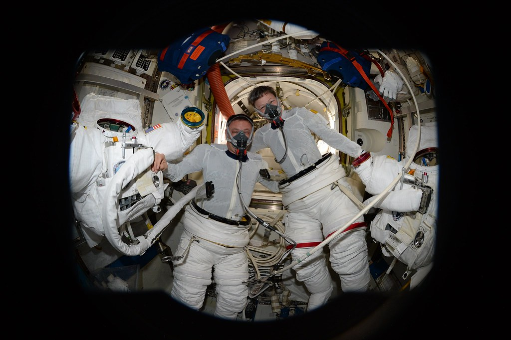 In the airlock before donning spacesuits