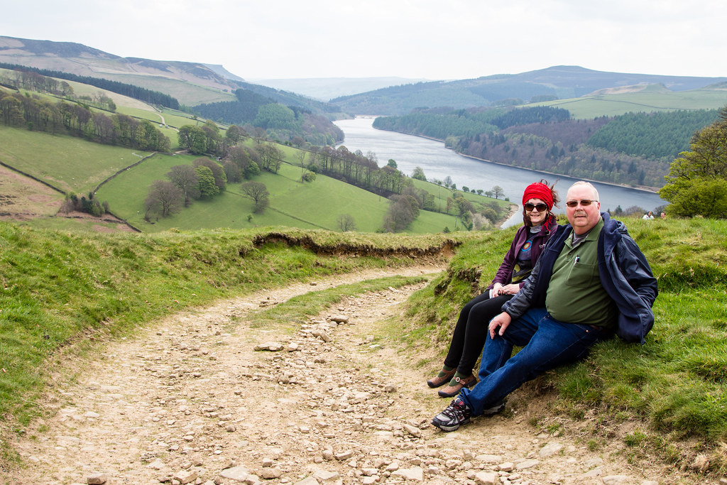 Taking a break hiking above the Derwent Reservoir.