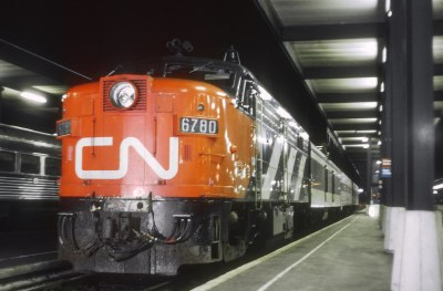 CN 6780 (FPA4) with Train 49, The Capital, at Ottawa ON on July 4, 1971