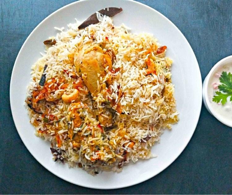 Thalassery Chicken Biriyani served with Raita