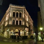 Wien, 1. Bezirk (the art of very historic nighttime places and palace buildings in the core of downtown Vienna), Herrengasse/Freyung/Strauchgasse (Palais Ferstel - Abensberg-Traun/Café Central).