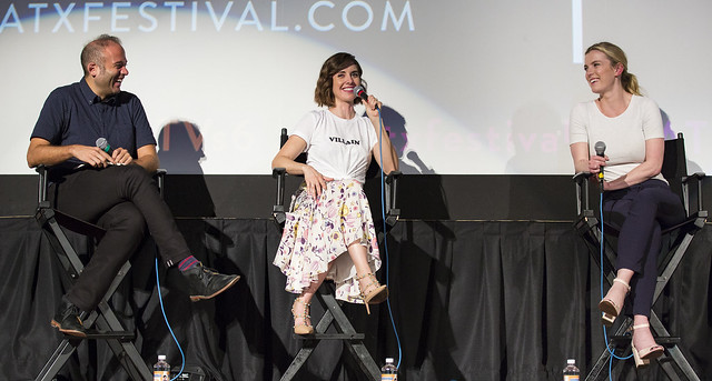 Moderator Jarett Wieselman, Alison Brie and Betty Gilpin