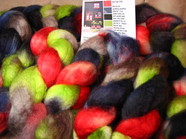 Modern Retreat - June 2017 Tiger Club - Superwash BFL Wool Combed Top