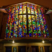 Church of the Annunciation, Finglas West, Dublin - stained glass window (viewed from the outside)