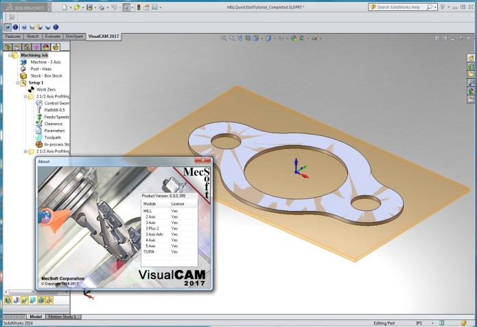 maching with MecSoft VisualCAM 2017 v6.0.399 for SolidWorks 2010-2017 x86 x64