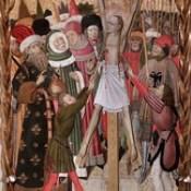 IMG_4663 Bernat Martorell actif 1400-1452 à Barcelone.  Martyre de Sainte Eulalie. Martyrdom of Saint Eulalia.  vers 1445.   Barcelone  Museu Nacional d'Art de Catalunya (MNAC)
