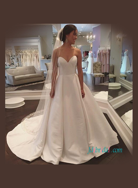 Simple sweetheart neckline satin a line wedding dress for Plain a line wedding dress