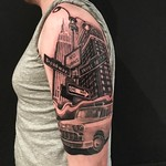 Start of New York sleeve for my good mate Jordan. Thankyou bud! Done at Far Beyond Tattoo #newyork #taxi #empirestatebuilding #silverbackink