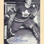 1944-63 NHL Beehive Hockey Photo / Group II - ED CHADWICK (Goalie) - Autographed Hockey Card (Toronto Maple Leafs) (#389)