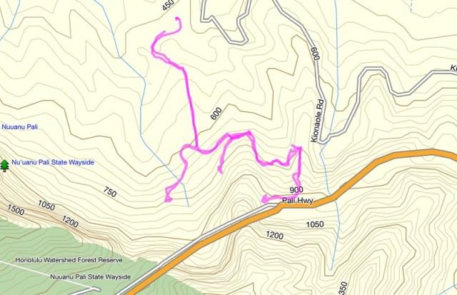Likeke Trail Topo Map