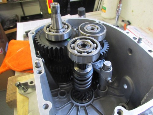 Input Shaft Inserted in Roller Bearing with 5th Gear Engaged with Intermediate Shaft 5th Gear