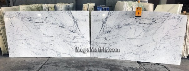 Statuary White Marble Bookmatched Natural Stone Slabs For Countertops