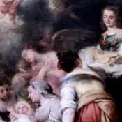 IMG_8510G Bartolome Esteban Murillo. 1618-1682. Séville.   La Naissance  de la Vierge.  The Birth of the Virgin. 1661.  Louvre.