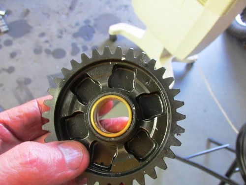 First Gear Bronze Bushing and Face with Slots for Gear Dog Engagement