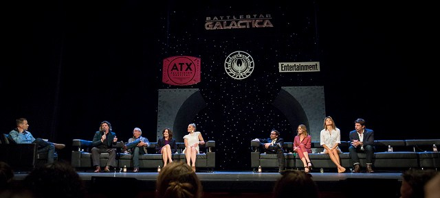 Moderator James Hibberd, Ronald D. Moore, Edward James Olmos, Mary McDonnell, Katee Sackhoff, James Callis, Tricia Helfer, Grace Park and Michael Trucco