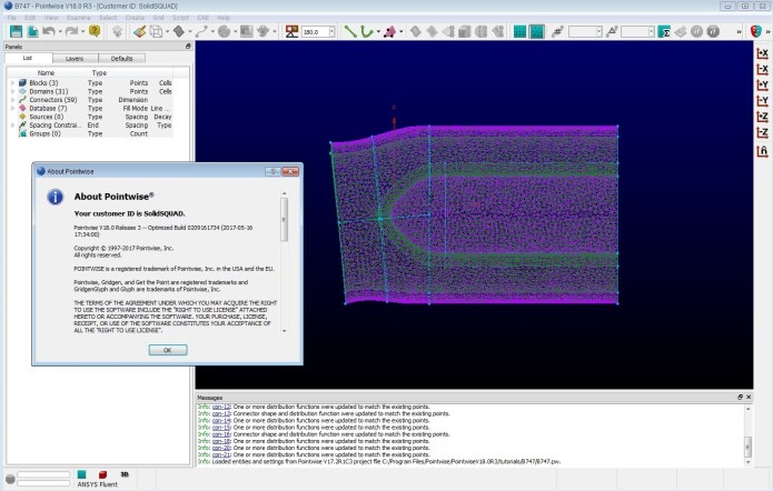 Working with PointWise 18.0 R3 build 2017-05-16 for windows