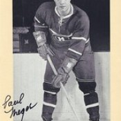 1944-63 NHL Beehive Hockey Photo / Group II - PAUL MEGER (Left Wing) - Autographed Hockey Card (Montreal Canadiens) (#273)