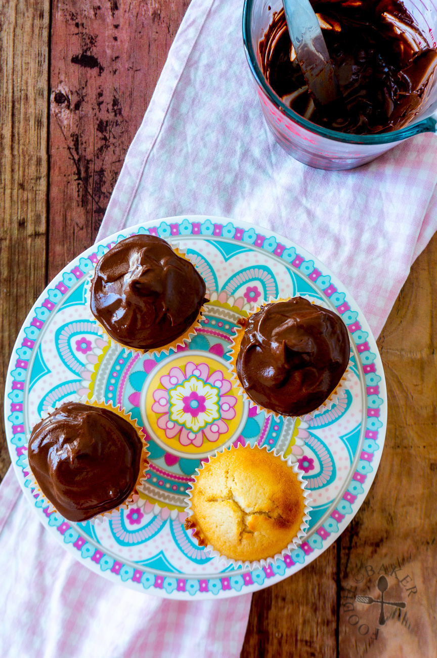 Egg White Cupcakes With Dark Chocolate Ganache Frosting