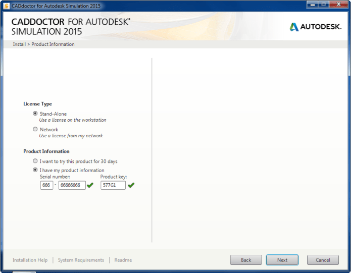 Product keys of Autodesk Simulation Moldflow CAD Doctor 2015