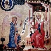 IMG_9188 Master of the Vyssi Brod Altarpiece. Vyssi Brod Altarpiece. Annunciation Prague vers 1350. Prague Narodni galerie.  Couvent Sainte Agnès de Bohême.