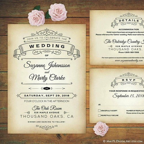 Cute ornate style rustic wedding invitation, details and rsvp card templates http://etsy.me/2qmmX1y #rustic #wedding #invitation #template, #ornate #style