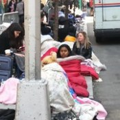 long line of young women sleeping on the streets hoping for Saturday Night Live tickets