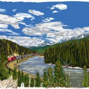 My Drawings - Banff National Park Morants Curve