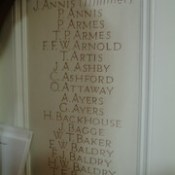 St Margaret Lowestoft War Memorial Chapel -  Annis to Baldry