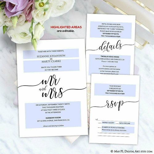 Mr and Mrs minimalist modern design, high resolution Wedding Invitation, Details and RSVP card template http://etsy.me/2sQx41g #mranadmrs #wedding #invite #modern #minimalist #template