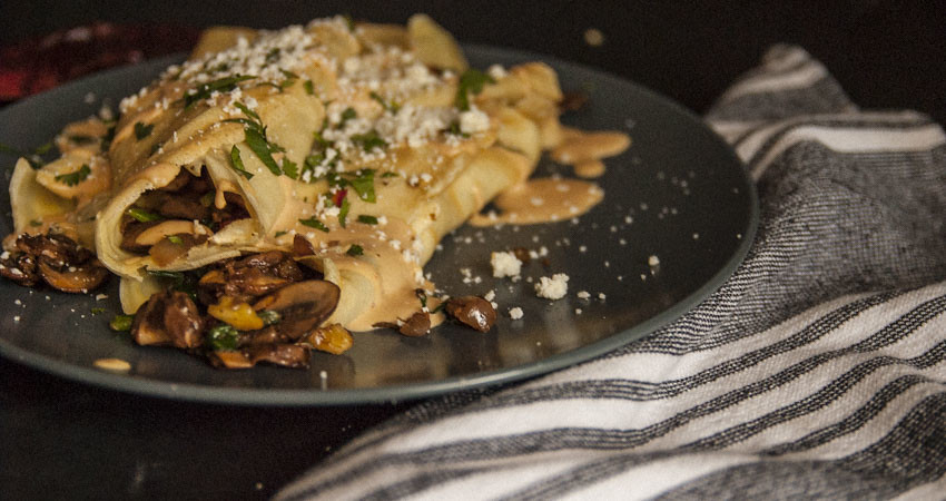 Spicy Mushroom Spinach Walnut Crepes 5