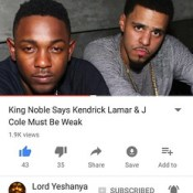 SEE MY NEW VIDEO 🤔🤔🤔 King Noble Says Kendrick Lamar & J Cole Must Be Weak ▶http://bit.ly/2s9IrDC