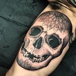 Inner arm skull for my good friend Ashley. Done at Far Beyond, Luton. Thankyou mate! #skull #blackandgreytattoo #ifuckinloveskulls