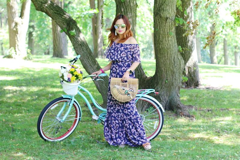 donna-morgan-floral-off-shoulder-maxi-dress-gaia-ark-bag-bike-1