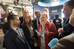 Isabelle Duvaux-Béchon shows Avenir Transports representatives the ESA Pavilion